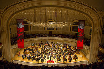 Musicians on stage at Chicago Symphony Orchestra